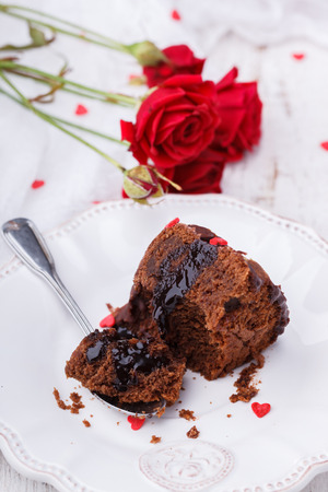 glaze: Chocolate cake with chocolate glaze Stock Photo