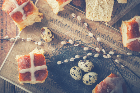 easter cross: Easter Hot Cross Buns on wooden background Stock Photo