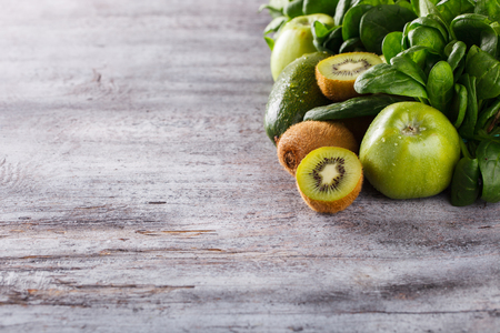 Green vegetables and fruits,health food,diet concept.Background.Copy space.selective focus.