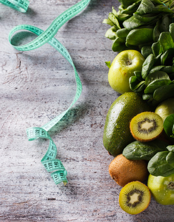diet food: Green vegetables and fruits,health food,diet concept.Background.selective focus.