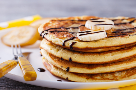 glaze: Pancake with banana in chocolate glaze.