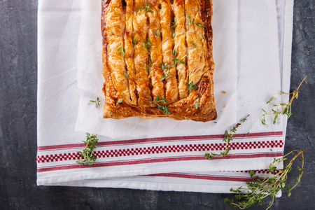 and savory: Puff pastry with savory stuffing and thyme.