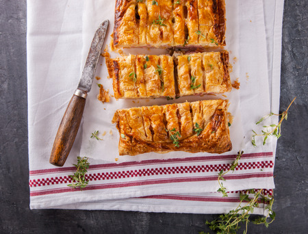 stuffing: Puff pastry with savory stuffing and thyme.