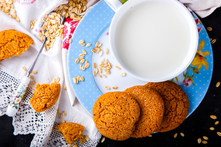 Oatmeal cookies with milk.Dessert, concept of healthy food. selective focus.
