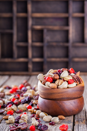 nutshells: Nuts and dried fruit mix. Stock Photo