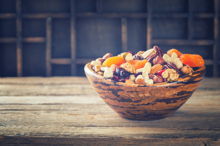 Nuts and dried fruit mix. Stock Photo
