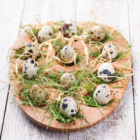 Easter decorations. Quail eggs in the nest and the grass on a wooden stand.