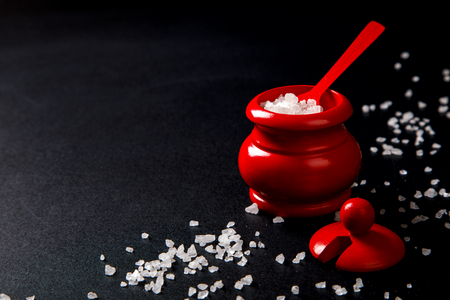 Sea Salt in Wooden red salt Shaker with Spoon on a Dark background.Copy space for Text. selective focus.
