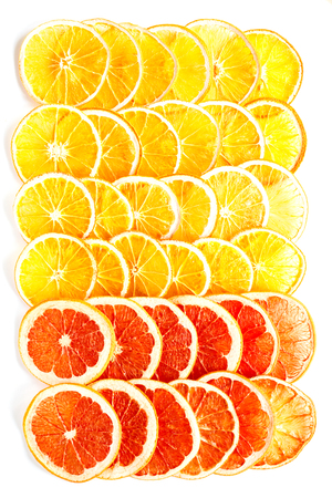 Pattern Natural Oranges and Grapefruit Dried Sliced Candied Fruits Citrus Caramelized Isolate White Background Food Top View  Stock Photo