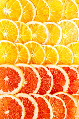 Pattern Natural Oranges and Grapefruit Dried Sliced Candied Fruits Citrus Caramelized Background Food Top View