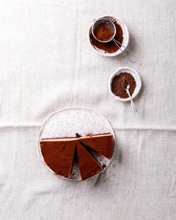 Chocolate Cake on a light background. Homemade baking.