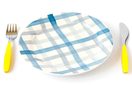 Kid's menu.Table setting for children isolated on a white background.copy space Stockfoto