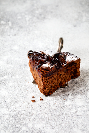 Slice of Chocolate Cake with Plum Powdered Sugar on the Stone Background. Copy space for Text.