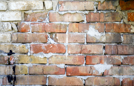 Empty Old Brick Wall Texture. Grungy Wide Brickwall. Grunge Red Stonewall Background. Abstract Web Banner. Copy Space. Imagens