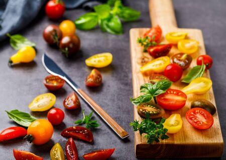 Cherry tomatoes. Summer variety of healthy vegetable colors. Food for Vegetarian. 写真素材