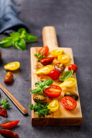 Cherry tomatoes. Summer variety of healthy vegetable colors. Food for Vegetarian.Copy space for Text