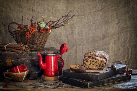 Pumpkin pie with chocolate. Autumn still life. Home baking.