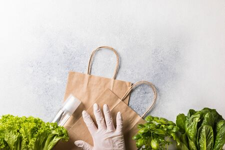 Concept of safe shopping against Coronavirus 2019-nCov in a pandemic. Background Spicy herbs vitamins to enhance immunity. Personal protective equipment protection the spread disease.