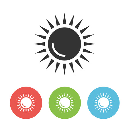 Cartoon sun vector flat one icon isolated on white background for webdesign or weather app Çizim
