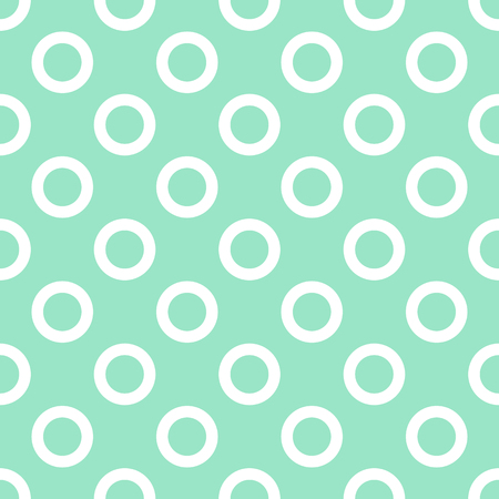 Cute seamless flat pattern with white outlined circle shapes on mint pastel background Illustration