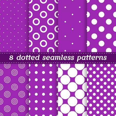 8 seamless pattern collection with polka dots and rings in violet and white colors Illusztráció