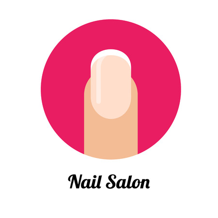 Nail polished finger with french manicure in flat pink circle. Beauty salon concept