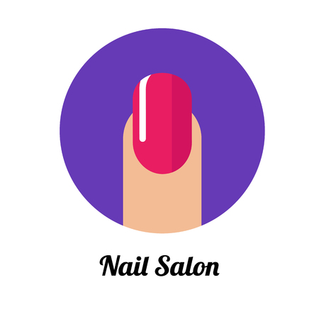 Nail polished finger with pink manicure in flat violet circle. Beauty salon concept Vettoriali