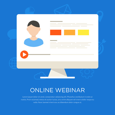 Video tutorial flat illustration. Design concept of online lectures, knowledge growth, distance education, webinar and conference presentation.