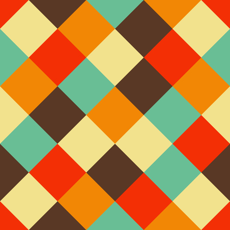 Seamless vector geometric pattern with colorful square shapes in bright vintage colors Illustration