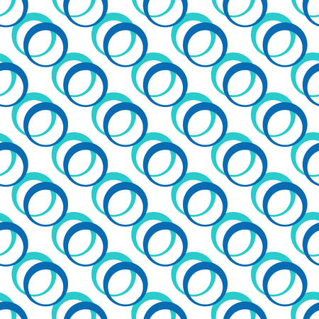 Geometric seamless vector pattern with colorful rings in flat style Illustration