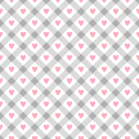 Cute seamless vector pattern with pink hearts and rhombus shapes on white background