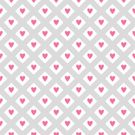 Pretty romantic seamless vector pattern with hearts and stripes in light pastel colors Illustration