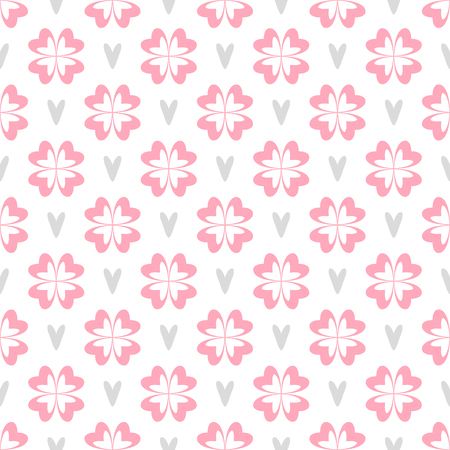 Cute baby or wedding seamless vector pattern with hearts and flowers isolated on white background