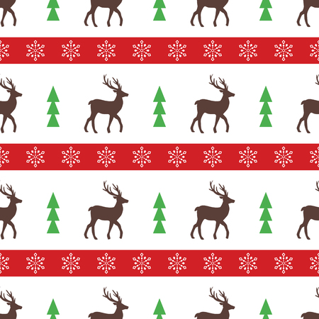 Cute New Year vector seamless pattern with snowflakes, deer and Christmas tree Illustration