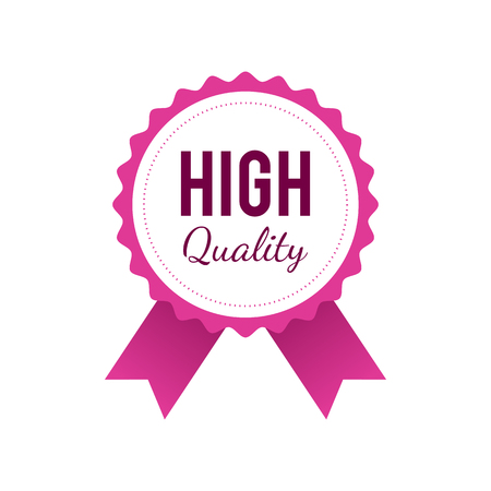 High quality badge in pink color isolated on white background. Vector illustration in flat modern style