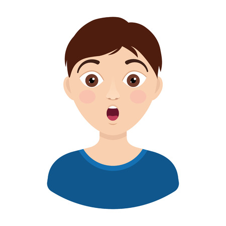 Vector young boy face surprised. Shocked emotions in flat style Illustration