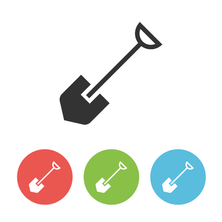 Shovel flat vector icon isolated on white background Ilustração