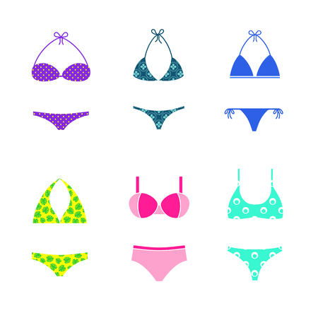 Set of vector colorful swimsuits isolated on white background