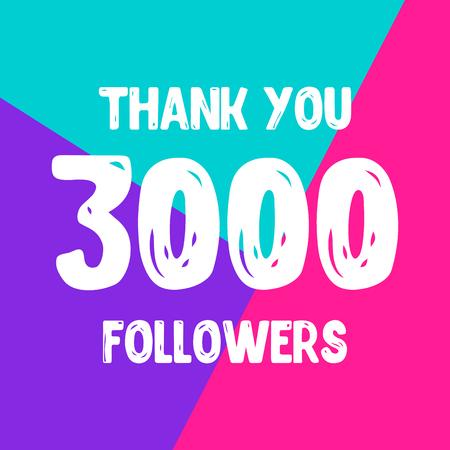 Thank you 3000 followers social network post. Vector illustration