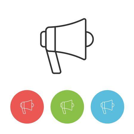 Megaphone speaker outline vector flat icon isolated on white background