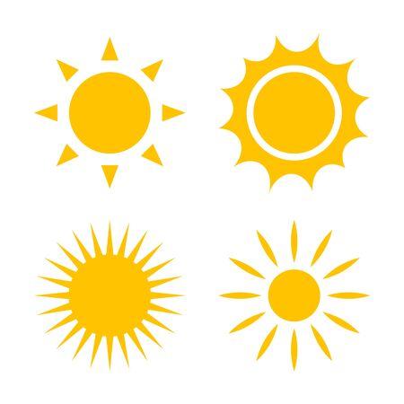 Set of yellow vector sun icons Ilustração