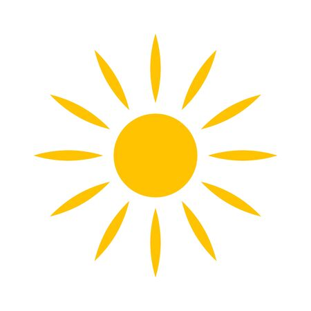 Icône de vecteur de soleil plat, symbole amusant de bonheur isolé sur fond blanc Vecteurs