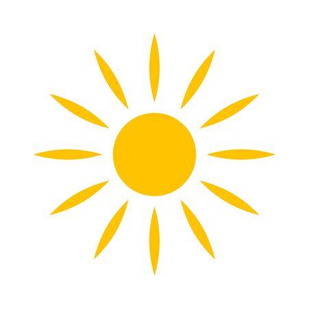 Icono de vector de sol plano, divertido símbolo de felicidad aislado sobre fondo blanco Ilustración de vector