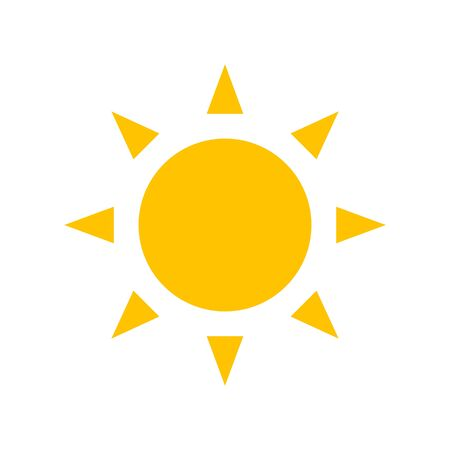 Yellow sun vector flat icon isolated on white background