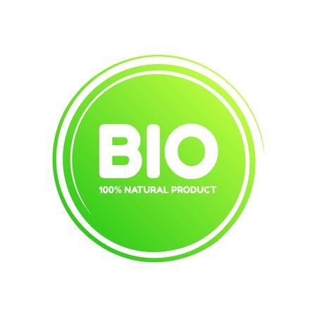 Bio 100% natural product vector green badge