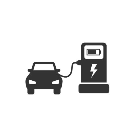 Electrocar charging process vector flat icon eps 10