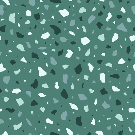 Green terrazzo flooring vector seamless pattern in flat style .