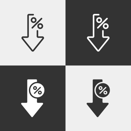 Set of interest rate reduction or percent down linear icons. Bold and linear design. Stock Illustratie