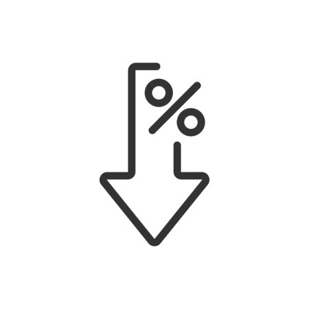 Interest rate reduction or percent down thin line icon. Stock Illustratie
