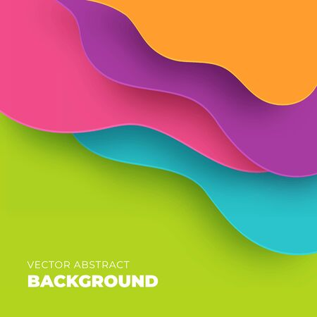 Colorful abstract background in paper cut style. Vector design for flyer, business presentation, brochure. Ilustração